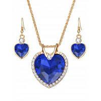 Искусственный Кристалл Драгоценный Камень Горный Хрусталь Сердце Комплект Ювелирных Изделий Синий