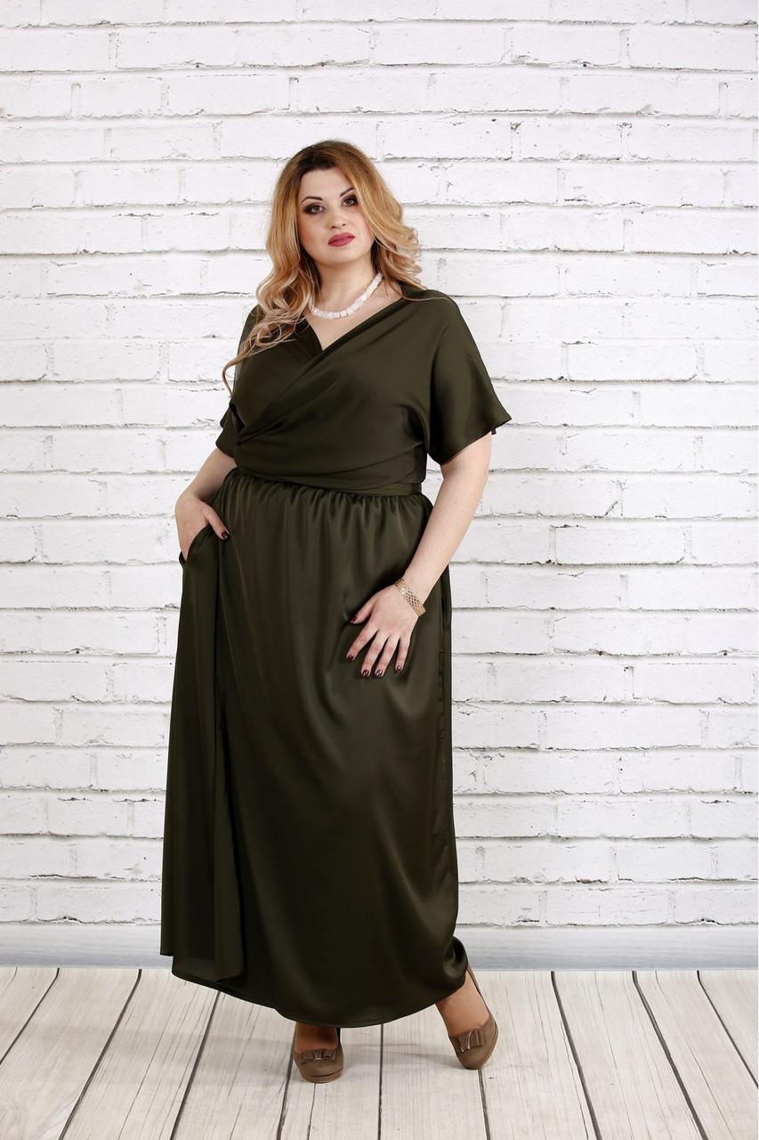 Шелковое платье для полных на запах 0742 цвета хаки