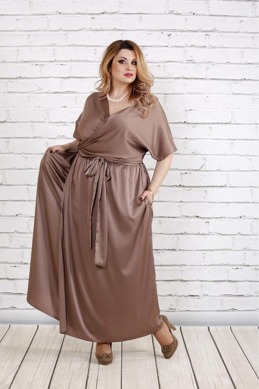 Шелковое платье для полных на запах 0742 кофе с молоком