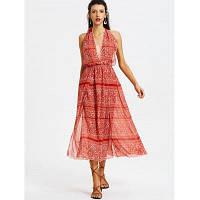 Печатная открытая спинка Drawstring Maxi Dress L