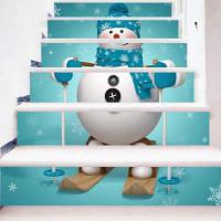 Снеговик с сноубордом Pattern Stair Sticker Wall Decor LTT088 18см x 100см x 6 шт.