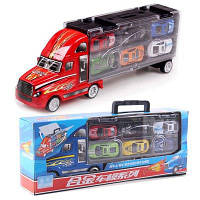 1:30 Масштаб Diecast Металлический сплав модели Игрушки Diecast Металлический грузовик Тягач с 12 маленькими машинами Для детских подарков Красный