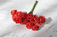 Декоративные бумажные цветочки, розы для скрапбукинга 1,5 см 12 шт/уп. на ножке красного цвета, фото 1