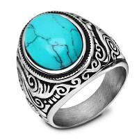 Старинное кольцо из нержавеющей стали с бирюзовыми титановыми мужскими украшениями