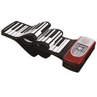 IWord Ручной ролл Фортепиано Гибкий Roll Up 61 Keys Клавиатура Портативный силиконовый пианино MIDI-порт с литиевым баттом 125x13.3x0.9cм