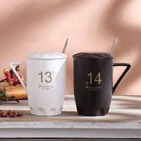 Керамическая кружка чашка с крышкой ложкой 1шт Чёрный