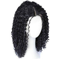 Среднее центральное разделение кудрявого синтетического парика натуральный черный