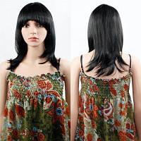 Парик человеческих волос женские прямые с плоской челкой синтетические красочные ну вечеринку косплей для женщин натуральный черный 14-дюймовый
