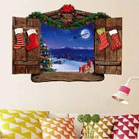 Рождественский пейзаж из дерева Декоративный узорный съемный стикер стены 50x70cм