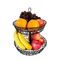 2 Tier Countertop Fruit Basket Holder Декоративная тарелка для фруктов Фрукты Овощи Закуски Предметы домашнего обихода Чёрный