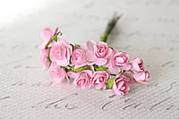 Декоративные бумажные цветочки, розы для скрапбукинга 1,5 см 12 шт/уп. на ножке нежно-розового цвета, фото 1