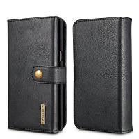 DG.MING Премиум натуральная кожа Cowhide 3 Складной чехол Кошелек для Samsung Galaxy Note 8 Чёрный