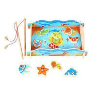 Двойной полюс Магнитная рыбалка Jigsaw Деревянная игрушка-игрушка для детей-детей Разноцветный
