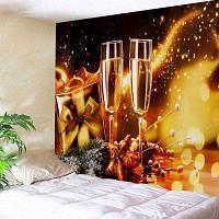 Декоративная Настенная Драпировка С Рождественскими Бокалами С Шампанским W79 дюймов * L71 дюйм