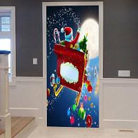 Рождество Санта с подарками шаблон обложки дверные таблички 38,5 * 200CM * 2шт