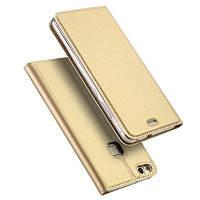 Держатель для карточки Flip Magnetic Full Body Solid Color Hard PU Кожаный чехол для Huawei P10 Lite Золотой
