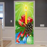 Рождественская Свеча Шар Узор Двери Наклейки 38,5 * 200CM * 2шт