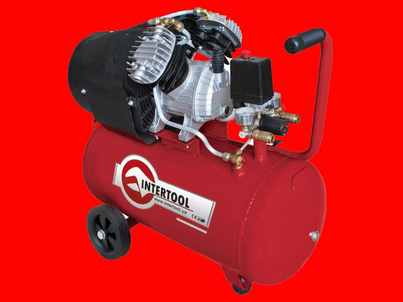 2-х цилиндровый масляный компрессор на 50 литров Intertool PT-0004