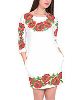 Заготовка жіночого плаття чи сукні для вишивки та вишивання бісером Бисерок  «Червоні маки 107» 93bf117fcd17b