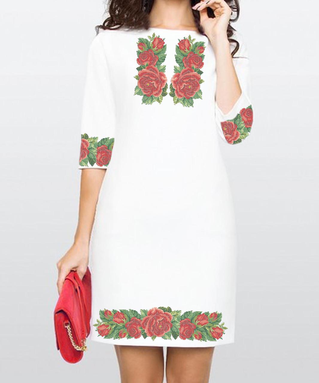 Заготовка жіночого плаття чи сукні для вишивки та вишивання бісером Бисерок  «Троянди» (П-23 ГБ) Габардин