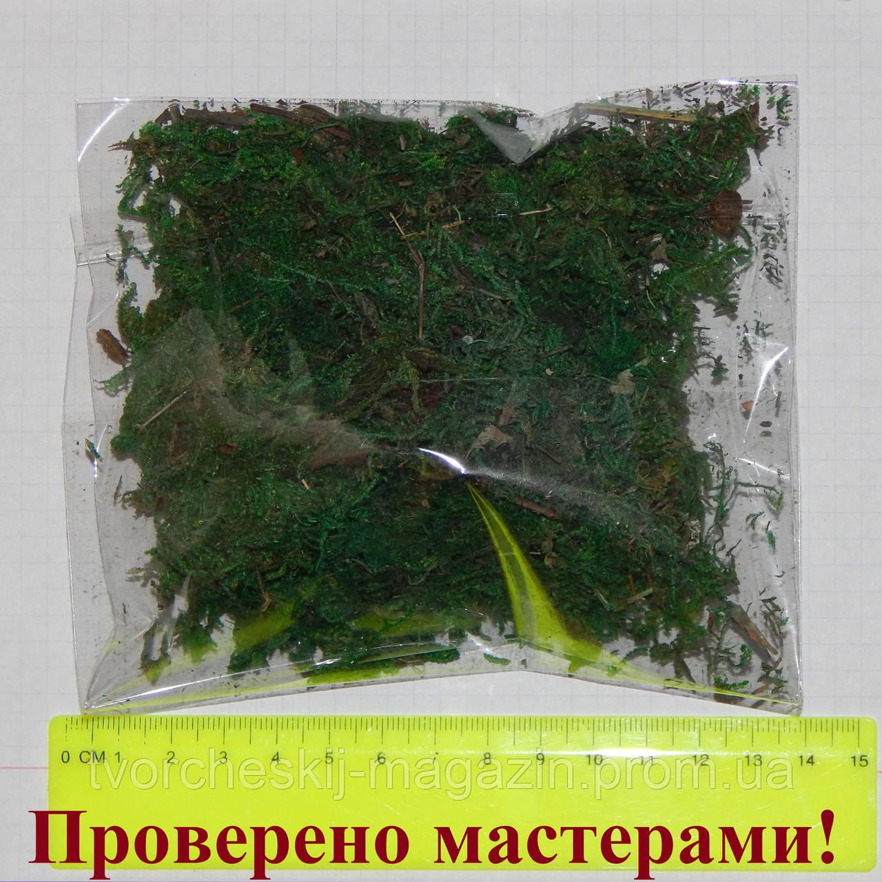 Мох зеленый натуральный для декора 10 гр