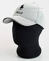 Бейсболка двухцветная с эмблемой Ralph Lauren белый+черный, лакоста пятиклинка меланж