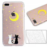 Cat Lovers Pattern Luxury Ultra Slim Bling Glitter Clear IMD TPU Мягкая крышка корпуса для iPhone X 8 8 Plus 7 7 Plus 6 6 Plus 6s 6s Plus 5 5 SE,