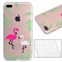 Flamingos Pattern Luxury Ultra Slim Bling Glitter Clear IMD TPU Мягкая крышка корпуса для iPhone X 8 8 Plus 7 7 Plus 6 6 Plus 6s 6s Plus 5 5s SE,