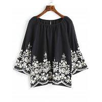 Цветочная вышитая блузка Raglan Sleeve S