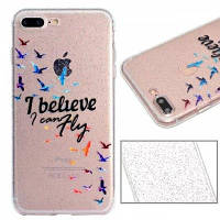 Модель Birds Luxury Ultra Slim Bling Glitter Clear IMD TPU Мягкая крышка корпуса для iPhone X 8 8 Plus 7 7 Plus 6 6 Plus 6s 6s Plus 5 5 SE, Samsung