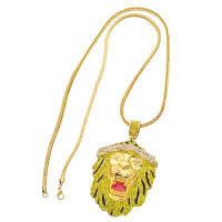Новый ожерелье из хип-хопа для головы льва Золотистый