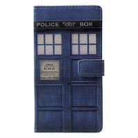 Общественный Call Box Catcher Pattern Flip Кожаный Кошелек Стенд для телефона iPhone X Синий
