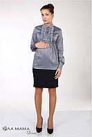 """Прямая юбка для беременных из костюмной ткани """"Alma"""", темно-синяя, фото 1"""