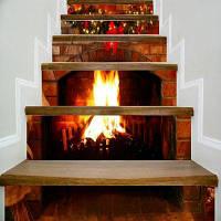 Пожаротушая каминная плитка Лестница наклейка Декорация стен LTT099 18см x 100см x 6 шт.