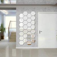 Шестигранные 3D Art Diy Mirror Wall наклейки для наклейки на главную стену Серебристый