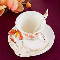 MCYH LG392 Простой изысканный керамический набор чашек для кофе / чая Красный