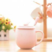 MCYH LG353 Керамическая чашка для кофе с крышкой ложкой Цветной