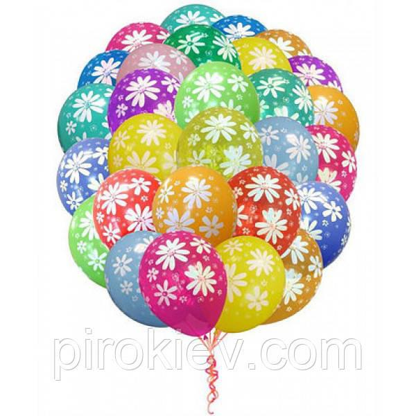Облако из разноцветных шариков ромашки