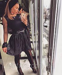 Платье коктейльное стильное, рукава сеточка