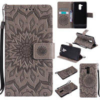 Sun Flower Printing Design Pu Leather Flip Wallet Lanyard Защитный чехол для Huawei Honor 5C Серый