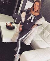 Костюм спортивный женский, нежная шерстяная Ангора декорирован жемчугом и парчовыми лентами