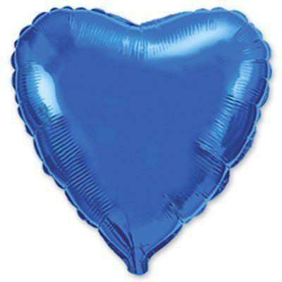 """Фольгированные шары без рисунка  18"""" сердце металлик голубое (FlexMetal)"""
