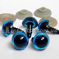 """Глазки для игрушек """"кошачьи"""" 15 мм + крепление, голубой (2 шт)"""