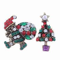 2шт Модный дизайн Санта-Клауса и Рождественская елка Брошь с ювелирными украшениями из драгоценных камней разноцветный