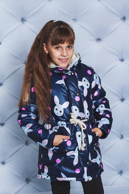 """Куртка-парка для девочки """"Зайчики"""""""