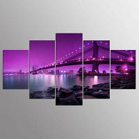 YSDAFEN 5 Panel Cityscape Canvas Печать Современная ночная сцена Bridge Wall Art 30x40cмx2+30x60cмx2+30x80cмx1 (12x16дюймовx2+12x24дюйм