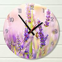 "Настенные часы - ""Лаванда с пчелой"" (на пластике)"
