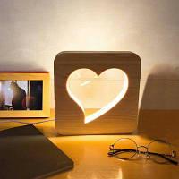 Деревянный ночной светильник с сердечком дерево