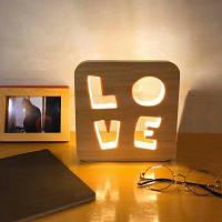 Любовный рисунок Светодиодный деревянный ночник дерево