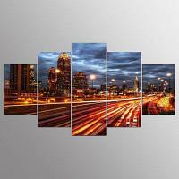 YSDAFEN Ночной город Ландшафт Картина для гостиной Современный декор интерьера 30x40cмx2+30x60cмx2+30x80cмx1 (12x16дюймовx2+12x24дюйм